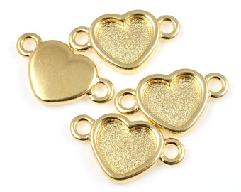 Gold heart pendant etsy gold heart pendants small hearts gold necklace pendant tierracast heart bezel link gold charms valentines charms minimalist jewelry p1422 aloadofball Gallery