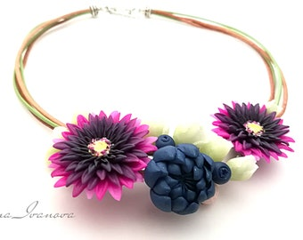 Necklace Jewelry Polymer clay Necklace Flower  Rose  Succulent Handmade Jewelry Romantic Necklace