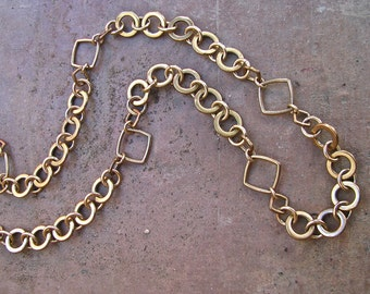 SALE!!! Handmade Bronze Circle and Square Linked Necklace
