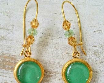 Handmade gold brass earrings/ Turquoise or White Earrings/ Jewelry Artisan/ Handmade Brass Earrings/ Grecian Jewelry/ Boho Fashion/Beads