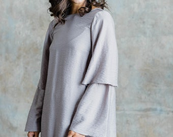 Grace Dress (Taupe)- Dress with low back and tiered sleeve detailing