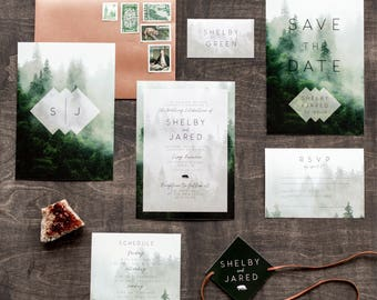 Printable Wedding Invitation Set, Rustic Wedding Invitation, Forest, Woodland, Camp, Modern, Geometric, Bear, Nature, Mountain | Fog Forest