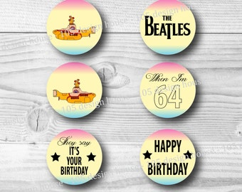"""The Beatles Cupcake Toppers Printable 2"""" Cupcake Toppers - The Beatles Cupcake Toppers - The Beatles Party Printables INSTANT DOWNLOAD"""