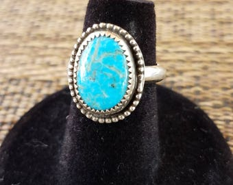 Kingman Turquoise and sterling silver womans ring size 5 1/2 US
