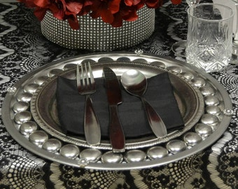 Silver Vintage Charger Plates-Set of 10