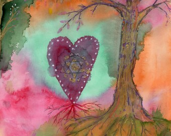 Art Print Chakra Meditation Anahata Heart Oak Tree Affirmation