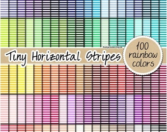 SALE 100 tiny horizontal striped digital paper rainbow stripes digital paper scrapbooking kit pattern printable 12x12 pastel neutral bright