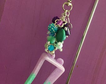 Sanitizer holder ~ Decorated hand sanitizer key chain, purse/backpack accessory, purse jewelry