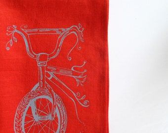 Linen Tea Towel - Bicycle Kitchen Towel - Choose your fabric and ink color
