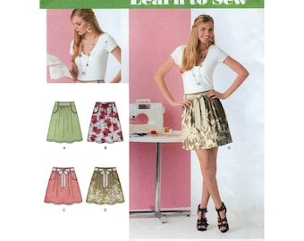 Women's Skirt with Tie Belt, Learn to Sew, Sewing Pattern, Misses Size 6-8-10-12-14-16-18 UNCUT Simplicity 2226