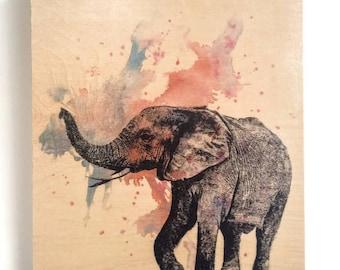 Wood Wall Art Elephant Painting Nursery Decor Animal Art on Wood Elephant Nursery Art Decor Great Elephant Nursery Painting on Wood Wall Art