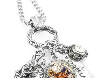 White Rabbit Necklace - Alice in Wonderland Necklace - White Rabbit Charms - Charm Necklace