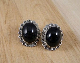Onyx Earrings, Vintage Mexican Sterling Silver Onyx Large Post Earrings, Vintage Sterling Silver Pierced Earrings, Large Onyx Stud Earrings