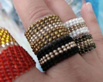 Seed Beads Rings - Handmade Peyote Ring - Beaded Ring - Handmade Ring - Gifts for Mom