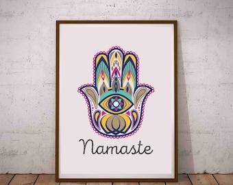 Namaste Boho Yoga Namaste Printable Wall Art Fatimas Hand Hamsa Hand Poster Gift for Yogis Evil Eye Protection Fatima Eye Houswarming Gift