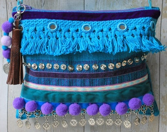 Turquoise and Purple ethnic embellished clutch bag with silver chain strap***SALE***
