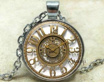 Vintage clock art pendant, clock pendant, vintage clock necklace, gold clock jewelry, clock art necklace, vintage clock, Pendant#HG151P