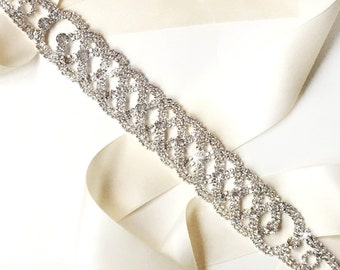 Sash - Chic Silver and Rhinestone Wedding Dress Sash - Rhinestone Encrusted Bridal Belt Sash - Crystal Extra Wide Wedding Belt - Long