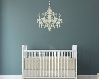 Chandelier Vinyl Wall Decal with customizable chain link length K698