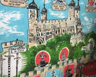 Vintage Novelty Souvenir British Tea Towel  Tower of London