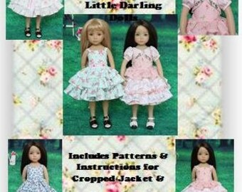"PDF Pattern Effner 13"" Little Darling, ""Summer Ruffles""; 4 Ruffled Dress Variations & Cropped Jacket"