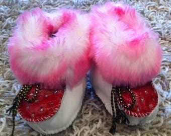 My baby princess pink faux fur baby booties