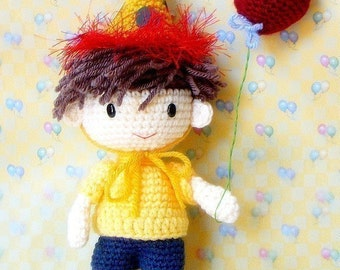 Amigurumi - Birthday Boy N his balloons - Crochet amigurumi doll patterns / tutorial PDF