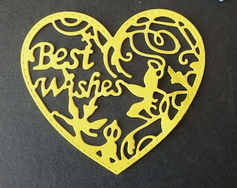 10 Intricate Heart die cut shapes BEST WISHES assorted colours Cards Scrapbooks