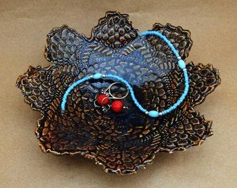 Ring Dish, Trinket Dish, Dark Brown With Dark Purple Color Flower Lace Dish, Stoneware Pottery,  Decorative Soap Dish,  Doily Design