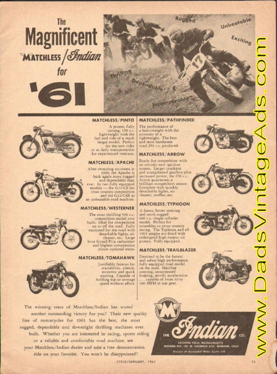 1961 The Magnificent Matchless / Indian Motorcycles Ad #e61aa07