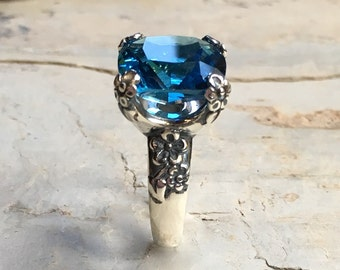 Blue quartz ring, Floral Silver Ring, Statement ring, large stone ring, alternative engagement ring, high ring - Hello spring R2272-5