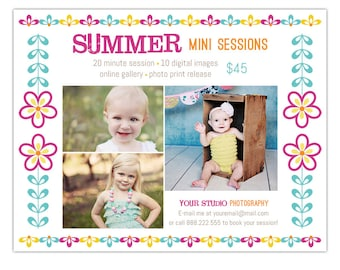 Spring, Summer Mini Session Marketing Board Template for Photographers, Editable Photoshop Template - INSTANT DOWNLOAD