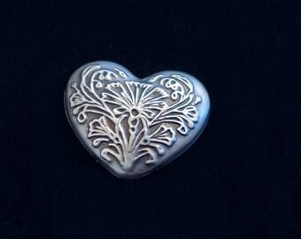 """Art Nouveau Embossed Repoussé Heart-Shaped Silver-Toned Brooch - 1.5"""" x 1.5"""""""