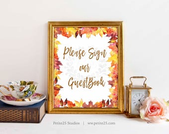 Please sign our guestbook sign, autumn, fall, orange maple leaves, autumnal, bridal shower sign, 5x7, 8x10, printable sign, instant download