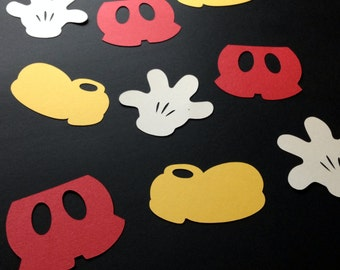 """Set of 30 5"""" Mickey Mouse Shoes Gloves Pants Silhouette Cutouts Die Cut Paper Crafting Scrapbooking Card Making Supplies"""