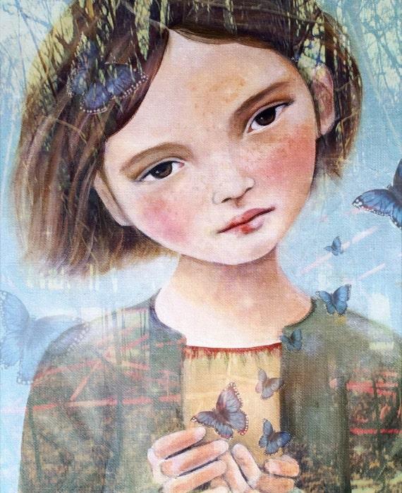 Little angel with blue butterflies art print