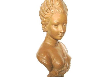 Rare French Bust Art Statute Terracotta Clay Sculpture Artist Caffieri Terre Cuite Semi Nude Bust of Woman France