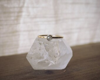 Lady - opalescent rose cut gray diamond ring -