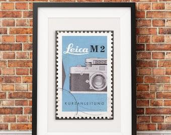 Leica M2 Vintage Stamp Style Print