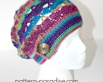 Crochet Pattern Hat Beanie Slouchy Hat Autumn Sunset PDF 17-294