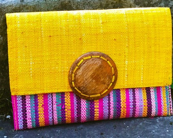 Yellow, Navy Blue and natural wood - pouch • Made in Puerto Rico