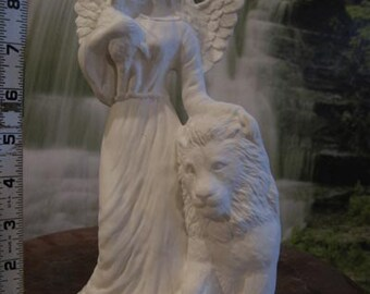 Beautiful, Angel of Peace, angel with lamb, angel with lion, Christmas decoration, ready to paint, u-paint, ceramic bisque