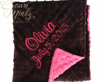 Personalized Baby Blanket, Fuchsia & Chocolate Brown Minky OR Choose your own colors