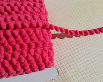 "RASPBERRY PINK Baby Pom Pom Trim - Sewing Crafting Baby Poms Poms - Mini Fringe - 3/8"" Wide"