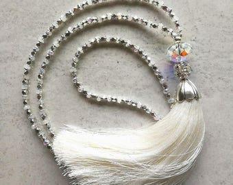 Tassel necklace; white tassel necklace; glass tassel necklace; long tassel necklace; long white tassel necklace; white glass bead necklace