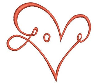 heart shape using love text machine embroidery design Instant Download