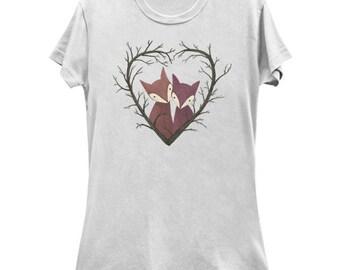 Fox Heart - Valentine T-Shirt - Cute fox Shirt - Kawaii fox Tee