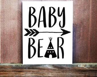 Baby Bear Sign, Baby Boy Sign, Nursery Decor, Hand Painted Canvas, Baby Boy Nursery, Baby Girls Room Decor, Handmade Sign, Baby Shower Gift