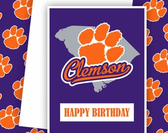 Clemson Tigers -  The University of South Carolina, College Football Card,  Football Greeting Cards, Tigers