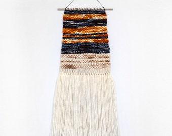 Handmade Tapestry Weaving Wall Hanging/Decor - Indigo Blue/Ivory/Orange